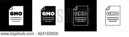 Set Gmo Icon Isolated On Black And White Background. Genetically Modified Organism Acronym. Dna Food