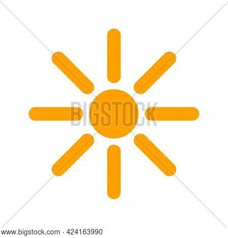 Sunshine Icon With Flat Style. Isolated Raster Sunshine Icon Illustrations, Simple Style.
