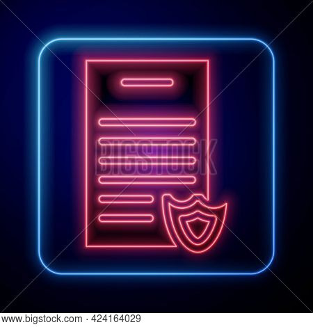 Glowing Neon Firearms License Certificate Icon Isolated On Blue Background. Weapon Permit. Vector