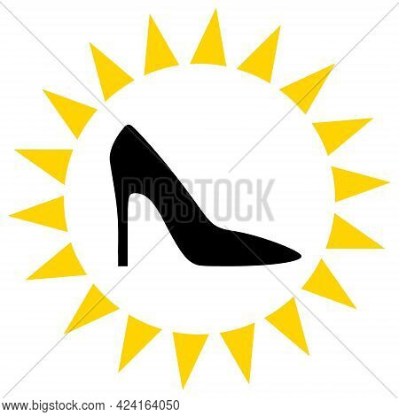 Exclusive Ladies Shoes Icon With Flat Style. Isolated Raster Exclusive Ladies Shoes Icon Illustratio