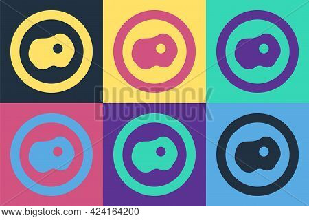 Pop Art Scrambled Eggs Icon Isolated On Color Background. Home Cooked Food, Fried Egg, Healthy Break