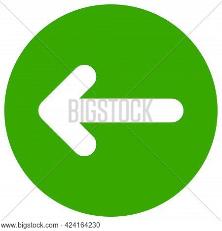 Left Direction Icon With Flat Style. Isolated Raster Left Direction Icon Image, Simple Style.