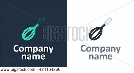 Logotype Kitchen Whisk Icon Isolated On White Background. Cooking Utensil, Egg Beater. Cutlery Sign.