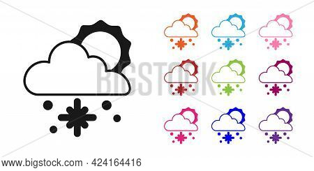 Black Cloud With Snow And Sun Icon Isolated On White Background. Cloud With Snowflakes. Single Weath