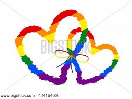 Two Colorful Rainbow Hearts , Concept For Lgbtq Vector Illustration