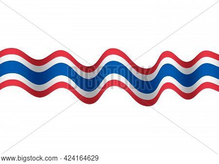 Fluttering Waving National Thai Flag Texture Abstract Background Vector Illustration