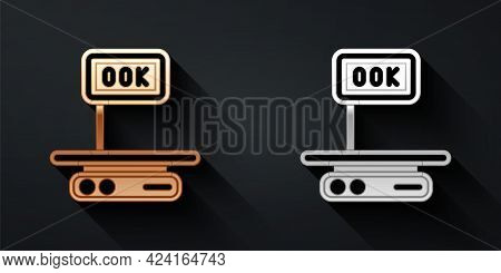 Gold And Silver Electronic Scales Icon Isolated On Black Background. Weight For Food. Weighing Proce