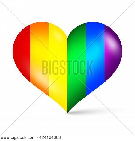 3d Colorful Rainbow Color Heart Shape Icon, Concept For Lgbtq Vector Illustration