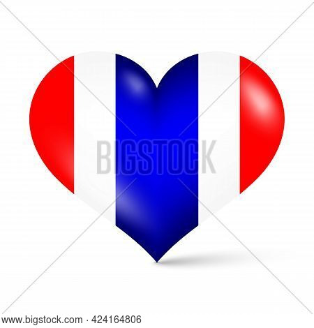 3d Glossy Red White Blue National Thailand Flag Color Heart Shape Vector Illustration