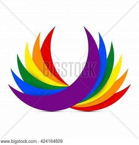 Lgbt Rainbow Flag Icon Abstract Background Vector Illustration