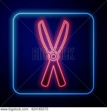 Glowing Neon Gardening Handmade Scissors For Trimming Icon Isolated On Black Background. Pruning She