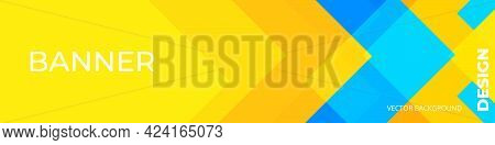 Abstract Yellow Background Modern Hipster Futuristic Graphic. Yellow And Blue Banner With Stripes. V