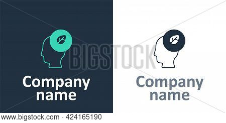 Logotype Human Head With Leaf Inside Icon Isolated Logotype Background. Logo Design Template Element