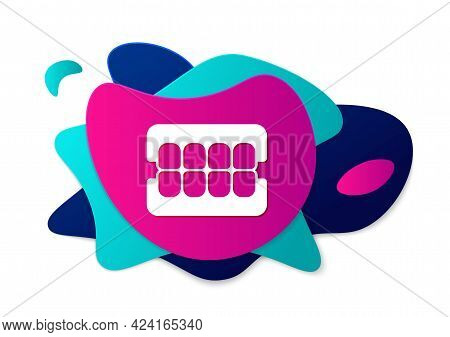 Color False Jaw Icon Isolated On White Background. Dental Jaw Or Dentures, False Teeth With Incisors