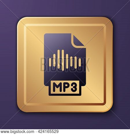 Purple Mp3 File Document. Download Mp3 Button Icon Isolated On Purple Background. Mp3 Music Format S