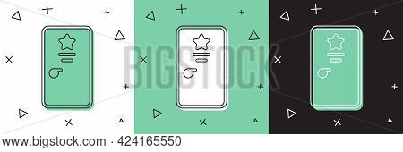 Set Backstage Icon Isolated On White And Green, Black Background. Door With A Star Sign. Dressing Up