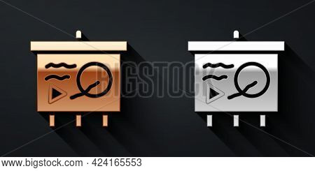 Gold And Silver Scenario On Chalkboard Icon Isolated On Black Background. Script Reading Concept For