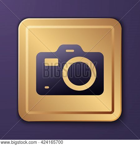 Purple Photo Camera Icon Isolated On Purple Background. Foto Camera. Digital Photography. Gold Squar