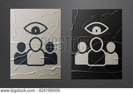 White Spy, Agent Icon Isolated On Crumpled Paper Background. Spying On People. Paper Art Style. Vect