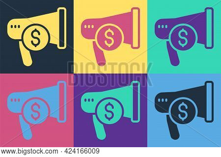 Pop Art Megaphone And Dollar Icon Isolated On Color Background. Loud Speech Alert Concept. Bullhorn