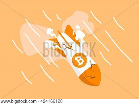 Bitcoin Rocket Crash Flying Down. Bitcoin Price Collapse, Crypto Currency Volatility Price Roaring F
