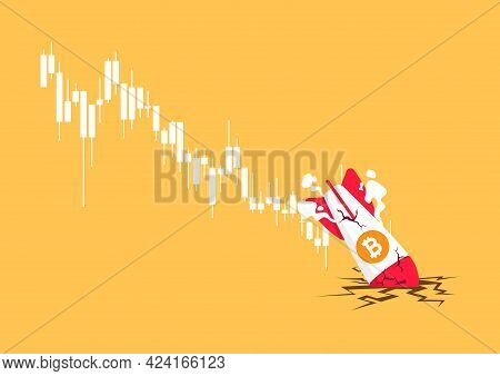 Bitcoin Rocket Crash On The Floor. Bitcoin Price Collapse, Crypto Currency Volatility Price Roaring