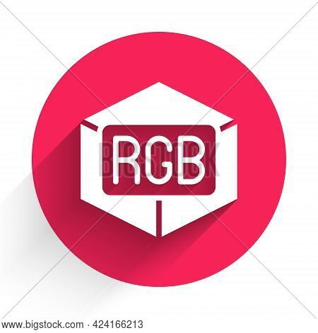 White Rgb And Cmyk Color Mixing Icon Isolated With Long Shadow. Red Circle Button. Vector