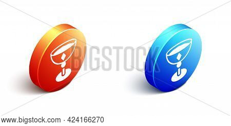 Isometric Medieval Goblet Icon Isolated On White Background. Orange And Blue Circle Button. Vector
