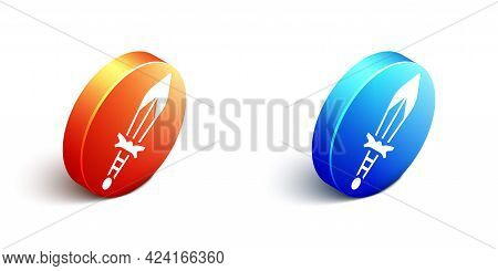 Isometric Medieval Sword Icon Isolated On White Background. Medieval Weapon. Orange And Blue Circle