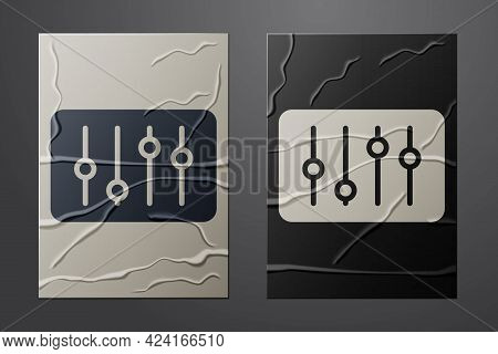 White Sound Mixer Controller Icon Isolated On Crumpled Paper Background. Dj Equipment Slider Buttons