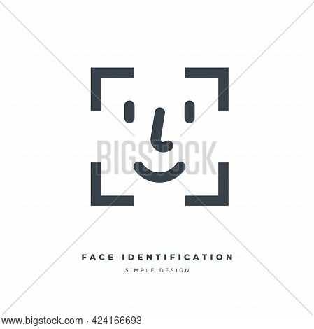 Face Identification Thin Line Icon. Face Id Icon. Facial Recognition System Sign. Facial Detection S