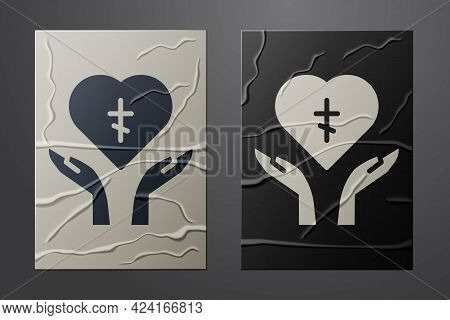 White Religious Cross In The Heart Inside Icon Isolated On Crumpled Paper Background. Love Of God, C
