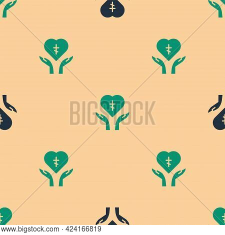 Green And Black Religious Cross In The Heart Inside Icon Isolated Seamless Pattern On Beige Backgrou