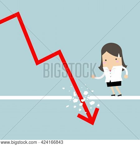 Businesswoman Looking Down At The Falling Arrow. Economic Collapse Definition.