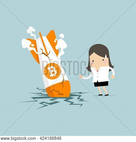 Businesswoman With Bitcoin Rocket Crash Flying Down. Bitcoin Price Collapse, Crypto Currency Volatil