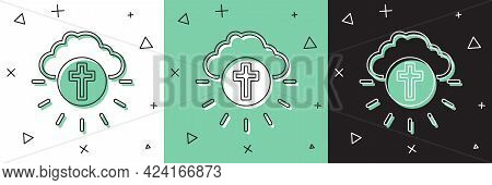 Set Religious Cross In The Circle Icon Isolated On White And Green, Black Background. Love Of God, C