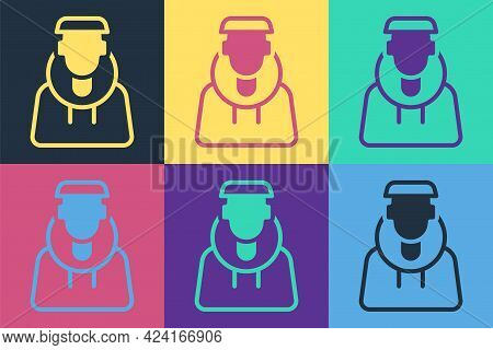 Pop Art Monk Icon Isolated On Color Background. Vector