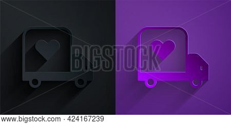 Paper Cut Delivery Truck With Heart Icon Isolated On Black On Purple Background. Love Delivery Truck