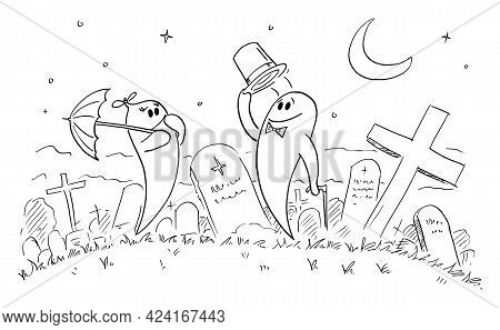 Ghost Gentleman Greeting Young Lady On Cemetery Or Graveyard, Vector Cartoon Stick Figure Illustrati