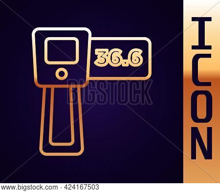 Gold Line Digital Contactless Thermometer With Infrared Light Icon Isolated On Black Background. Vec