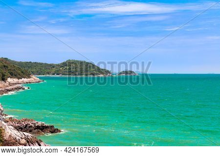 Landscape Of Seascape At Koh Sichang Is A Tropical Island With Emerald Green Water And Beautiful Bea