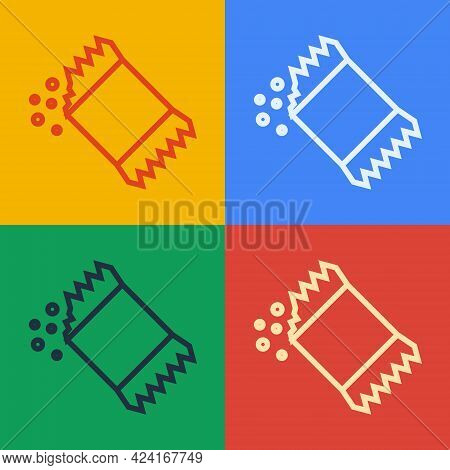 Pop Art Line Packet Of Pepper Icon Isolated On Color Background. Vector