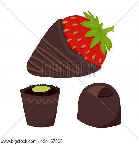 Chocolate-covered Strawberries Are Fresh Fruit Dipped In Thick Chocolate Bars. A Set Of Chocolates.