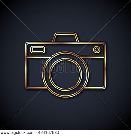 Gold Line Photo Camera Icon Isolated On Black Background. Foto Camera Icon. Vector