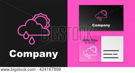 Pink Line Cloud With Rain And Sun Icon Isolated On Black Background. Rain Cloud Precipitation With R