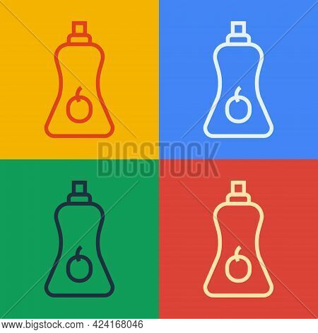 Pop Art Line Sauce Bottle Icon Isolated On Color Background. Ketchup, Mustard And Mayonnaise Bottles