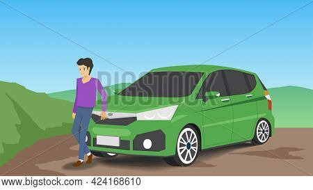 Driving Man In Private Time Standing In Front Of The Car. With Car Green Color Parking On The Soil R
