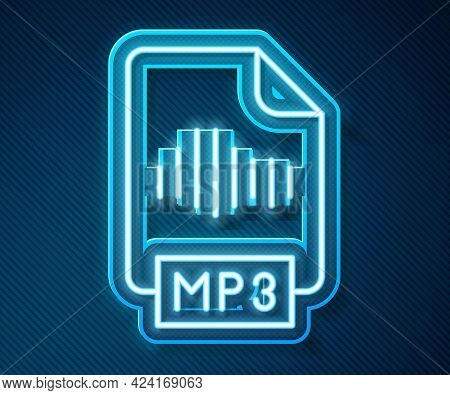 Glowing Neon Line Mp3 File Document. Download Mp3 Button Icon Isolated On Blue Background. Mp3 Music