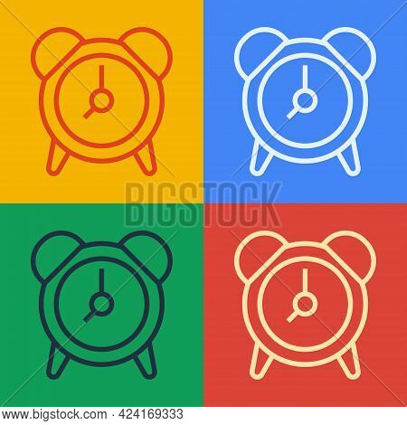 Pop Art Line Alarm Clock Icon Isolated On Color Background. Wake Up, Get Up Concept. Time Sign. Vect