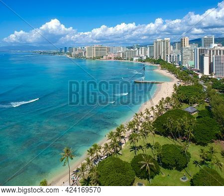 Aerial panoramic views of Waikiki Beach Honolulu Hawaii